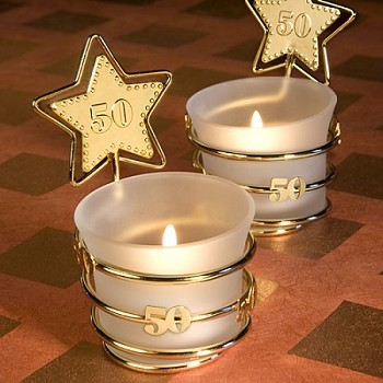 Gold Star Design 50Th Anniversary Candle