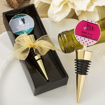 Personalized Gold Metal Wne Bottle Stopper