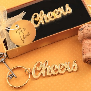 Metal Cheers Key Chain with Gold Finish
