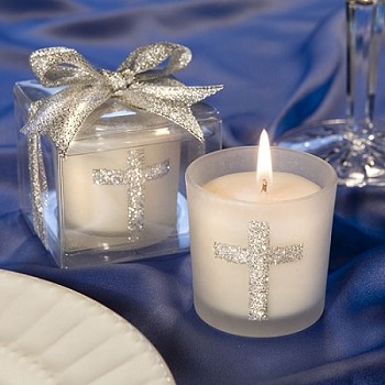 Silver Cross Themed Candle