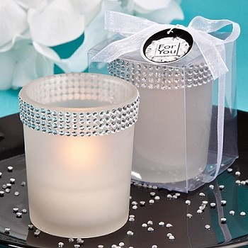 White Candle Holders Bling Collection