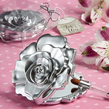 Realistic Rose Design Compact Mirror