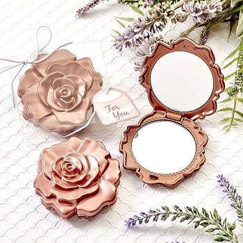 Dusty Rose Realistic Rose Design Mirror Compacts