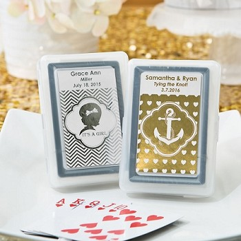 Personalized Playing Cards with Case - Metallic Stickers