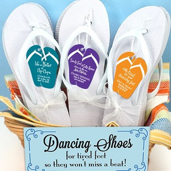 Wedding Flip Flops with Personalized Flip Flop Tag - Set of 6 (White)