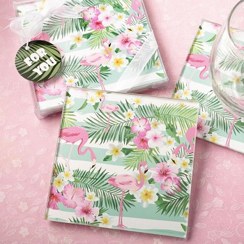 Tropical Flamingo Themed Glass Coasters (Set of 2)