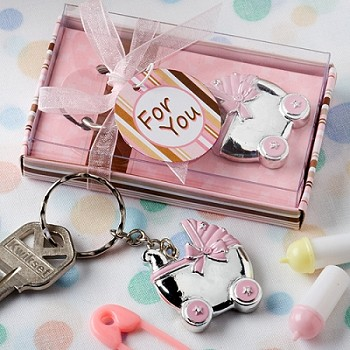 Pink Baby Carriage Key Chains