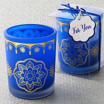 East Indian - Moroccan Blue Frosted Glass Votive Candle