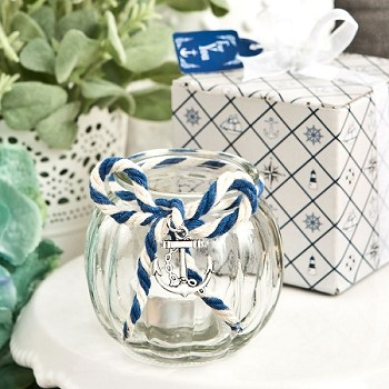 Clear Glass Round Candle Holder with Nautical Anchor Charm