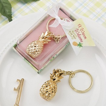Gold Pineapple Themed Bottle Key Chain