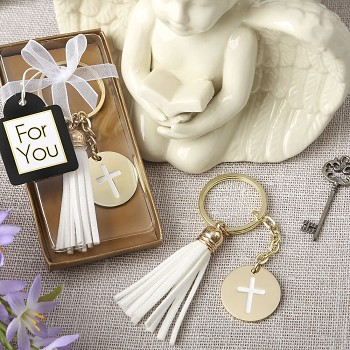 Gold Metal Cross Key Chain with White Tassel