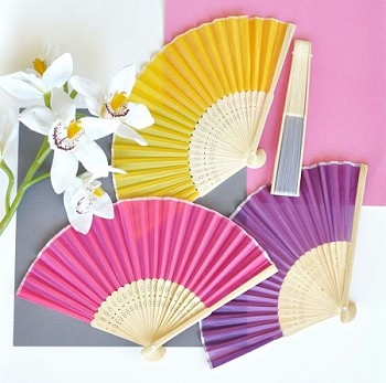 Colored Silk Folding Fans