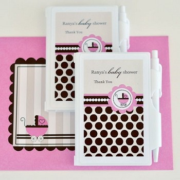 Personalized Notebook Favors - Pink Baby Shower Favors