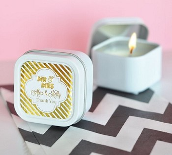 Personalized Square Travel Candle Wedding Favors - Metallic Foil Labels