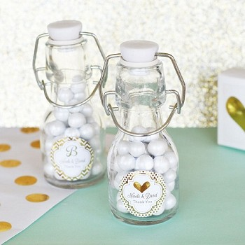 Personalized Mini Glass Bottle Wedding Favors - Customizable Gold Foil Labels