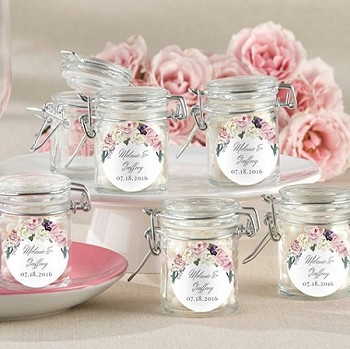 English Garden Floral Themed Glass Jar Favors (set of 12)