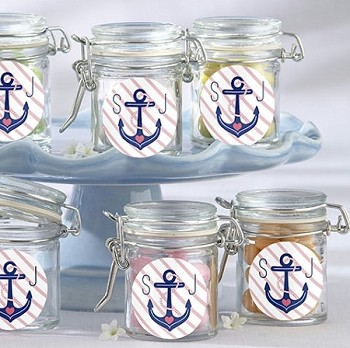 Monogrammed Nautical Anchor Glass Jar  (set of 12)