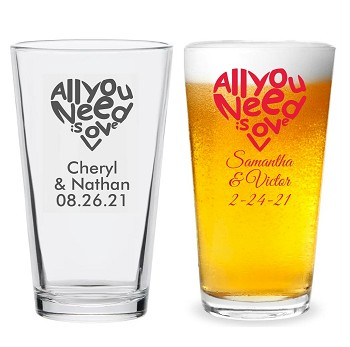 All You Need Is Love Personalized 16 oz Pint Glass