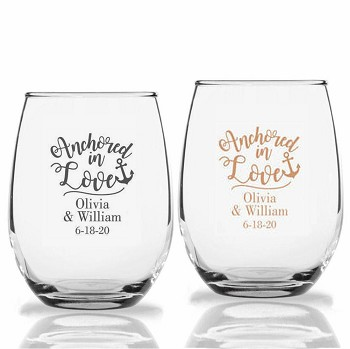 Nautical Anchored In Love Stemless Wine Glasses ( 9 oz or 15 oz)