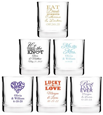 Personalized Wedding Shot Glasses (2 oz)