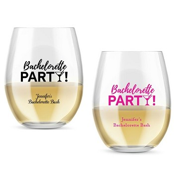 Bachelorette Party Personalized Stemless Wine Glass (9 oz or 15 oz)