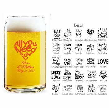 Personalized Beer Can Glasses Wedding (16 oz)