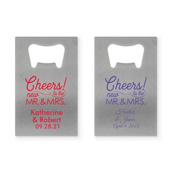 Credit Card Bottle Opener - Cheers To The New Mr & Mrs