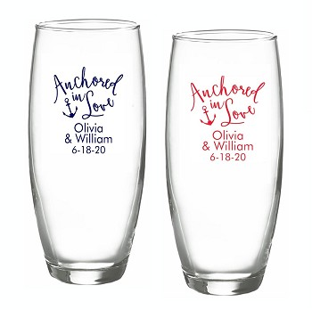 Anchored In Love Personalized Stemless Champagne Glasses (9 oz)
