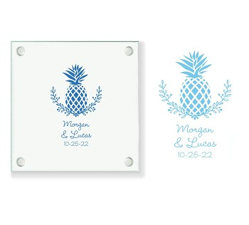 Pineapple Design Personalized Glass Coasters