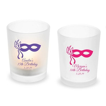 Masquerade Mask Sweet 15 or 16 Personalized Frosted Glass Votive