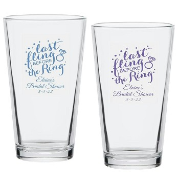Last Fling Before The Ring Personalized Pint Glass (16 oz)