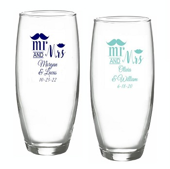 Mr. and Mrs. Mustache Lip Personalized Stemless Champagne Glasses (9 oz)