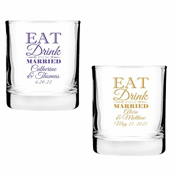 Eat Drink And Be Married Personalized Shot Glass Votive Candle Holders (2 oz)