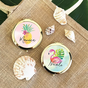 Personalized Tropical Beach Compact Mirror