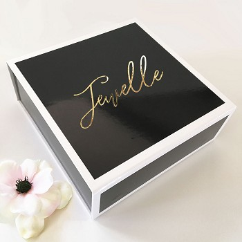 Black Gift Boxes - Gold Text