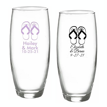 Flip Flop Stemless Champagne Glasses- Beach Tides (9 oz)