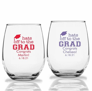 Hats Off to the Grad Personalized Stemless Wine Glasses (9 oz or 15 oz)