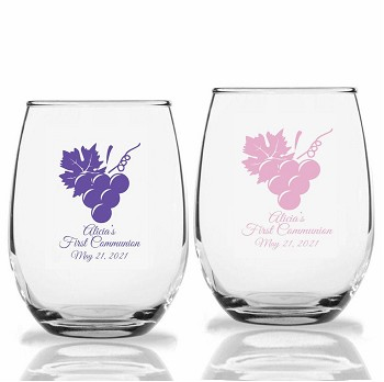 Grapes Vineyard Vines Personalized Stemless Wine Glasses (9 oz or 15 oz)