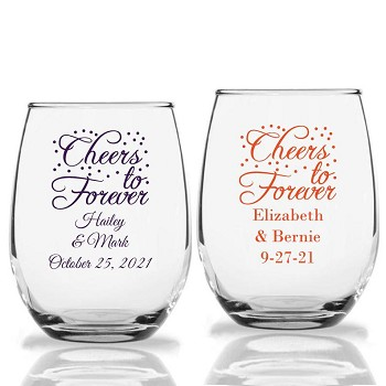 Cheers To Forever Personalized Stemless Wine Glass (9 oz or 15 oz)
