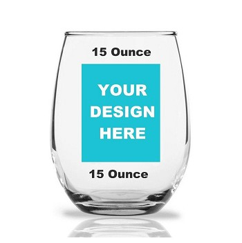Stemless Wine Glass 15 ounce Custom Design