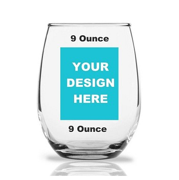 Custom Design Personalized 9 oz Stemless Wine Glass