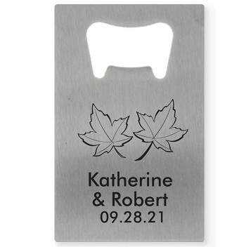Two Leaves Personalized Credit Card Bottle Opener