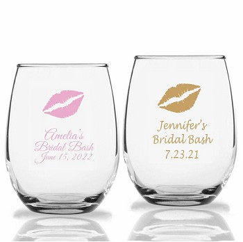 Kiss Personalized Stemless Wine Glass (9 oz or 15 oz)