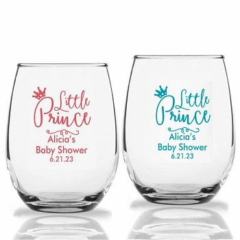 Little Prince Baby Shower Party Wine Glasses (9 oz or 15 oz)