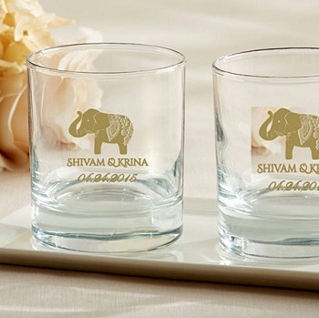 Custom Lucky Elephant Shot Glass Favors (9 oz) - Indian Theme Wedding