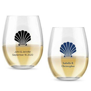 Seashell Personalized Stemless Wine Glass (9 oz or 15 oz)