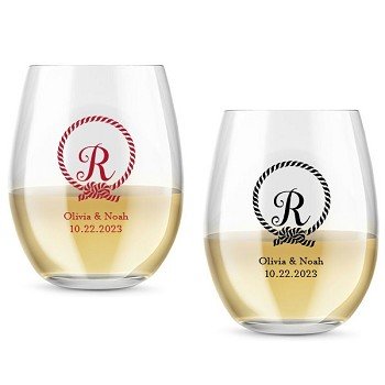 Monogram Knot Personalized Stemless Wine Glass (9 or 15 oz)