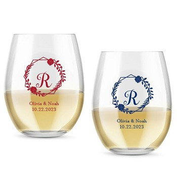 Monogram Geo Floral Personalized Stemless Wine Glass (9 or 15 oz)