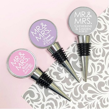 Mr. and Mrs. Block Personalized Wine Bottle Stopper