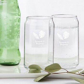 Personalized 16 OZ. Can Glass - Palms